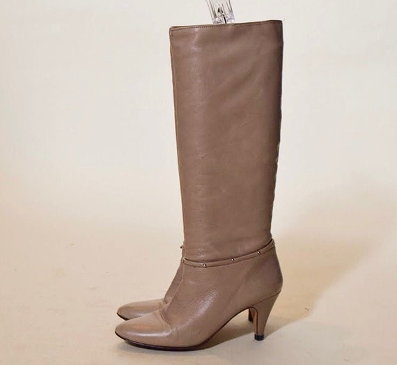 1980s vintage retro light taupe tall leather with