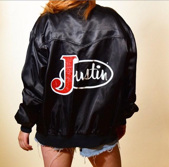 "Vintage 1980's  "" Justin boot brand nylon black zip up bomber jacket size medium"