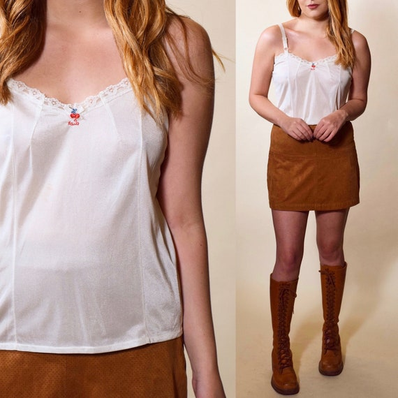 1970s vintage white nylon classic lace detail camisole with embroidered cherry women's small