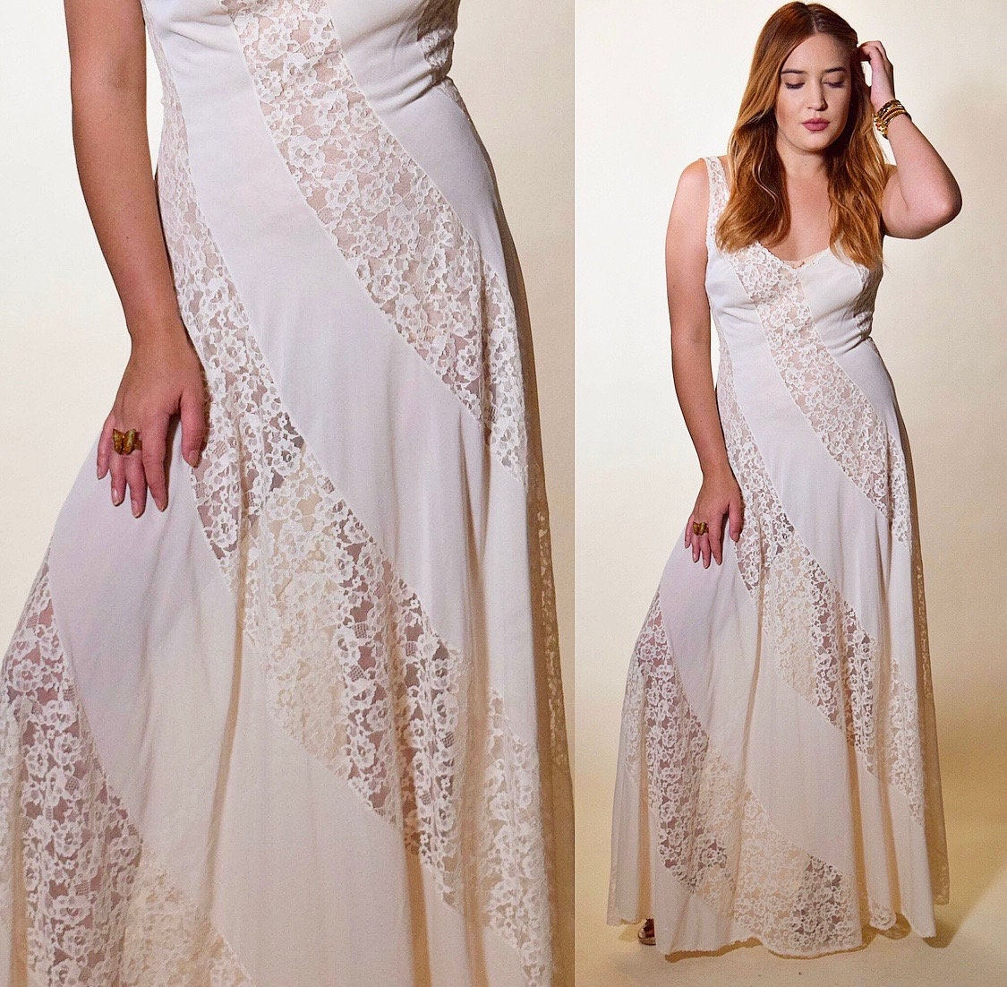 6c34852a94c 1970s authentic vintage off white nylon lace romantic sexy nightgown ...