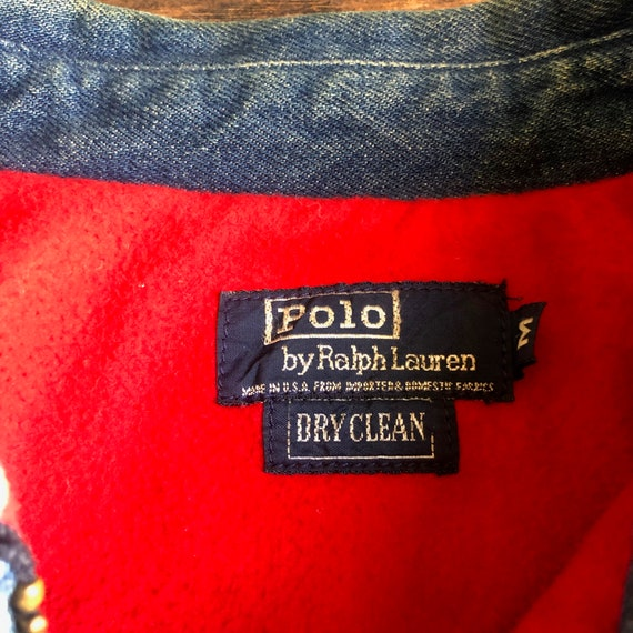 1980s Polo By Ralph Lauren denim bomber collared … - image 3