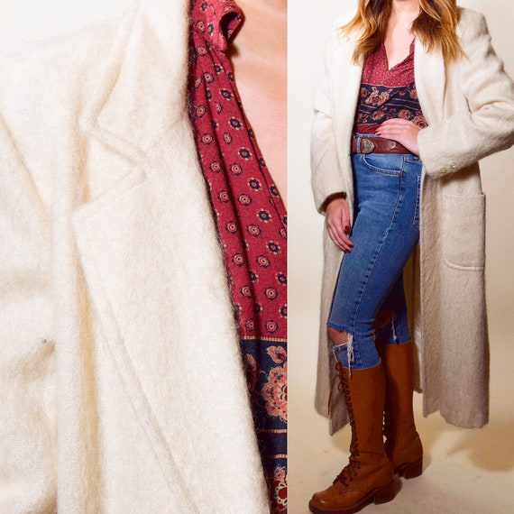1980s authentic Vintage double breasted off white mohair long coat women's size large
