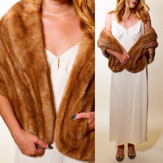 1950s authentic vintage I. Magnin RARE classic brown mink stole with women's one size