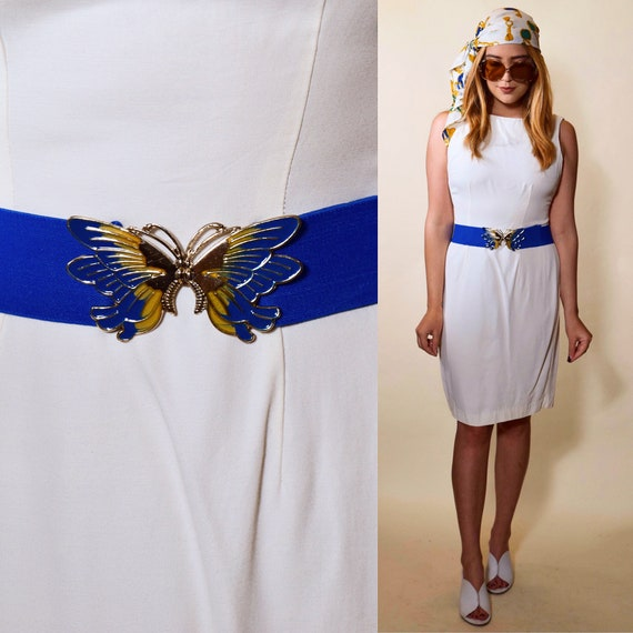 Authentic vintage royal blue elastic belt with golf + blue butterfly buckle