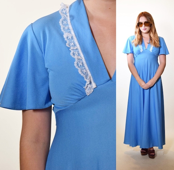 1970s authentic vintage butterfly sleeve + lace trim baby blue polyester maxi prom dress women's size small