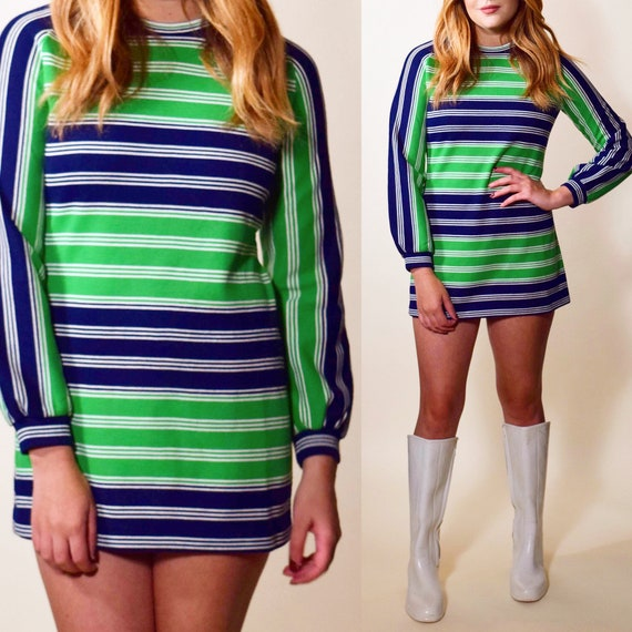 1960s authentic vintage stripe long sleeve mini tunic navy blue + green dress women's size small