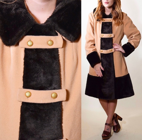 1970s authentic vintage camel double breasted trench coat with faux fur collar and trim women's size medium