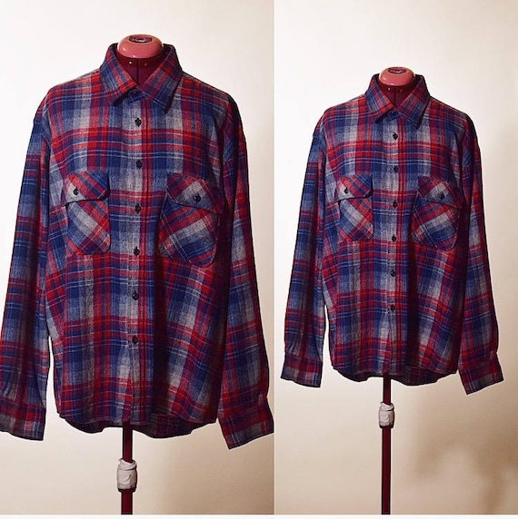 Vintage 1980's Fieldmaster classic plaid button down wool blend shirt blue and red men's size XL