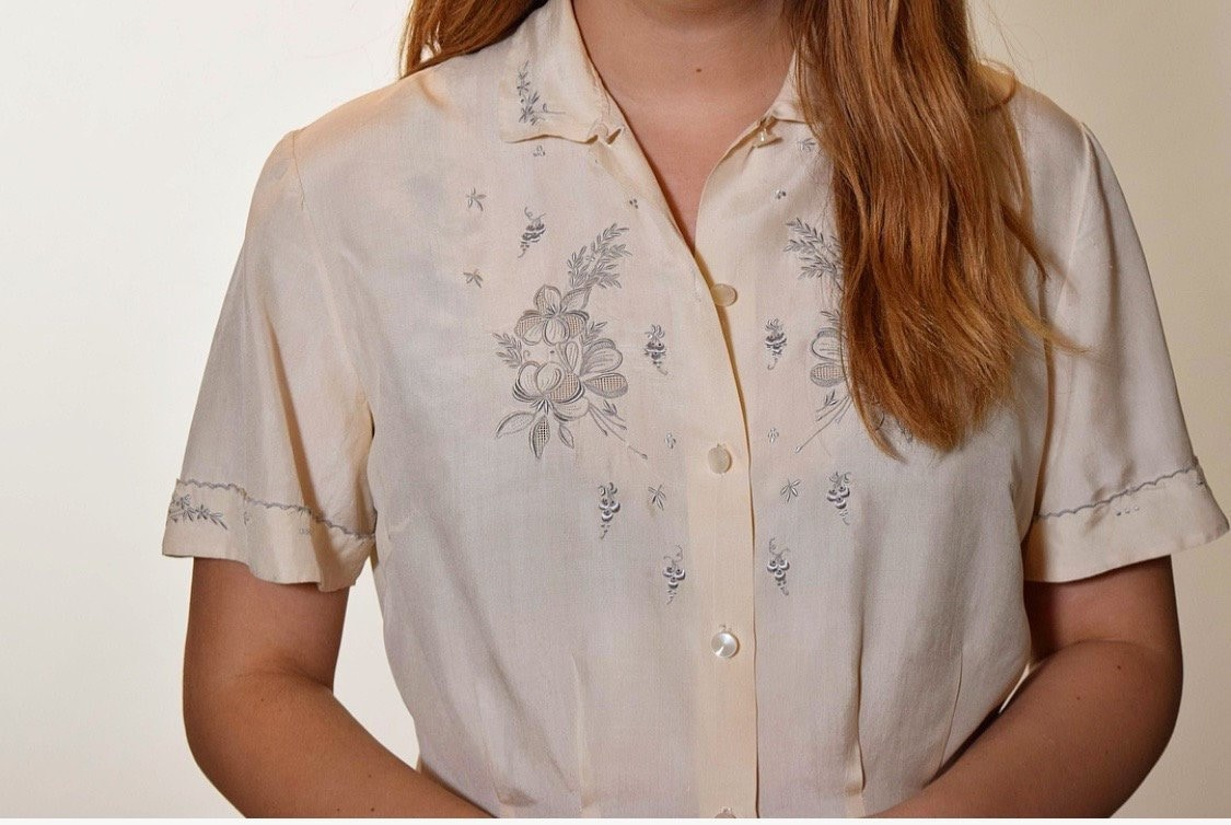 fdc2601c 1940s vintage classic silk button down off white collared blouse with ...