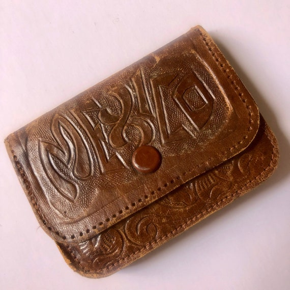 1960s vintage RARE Mexico authentic vintage soft leather hand tooled small coin purse
