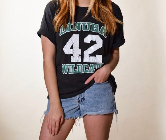 1970s-1980s vintage distressed varsity Dinuba Wildcats 42 graphic 50/50 cotton poly tee unisex Medium