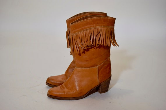 1970s authentic vintage chestnut brown leather fringe cowboy boots women's US size 9