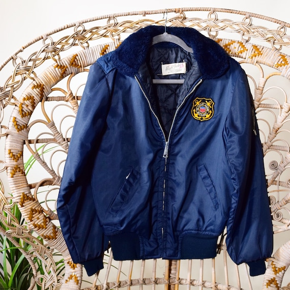 1950s authentic vintage Coast Guard Auxiliary zip up bomber jacket with faux fur collar unisex small-medium