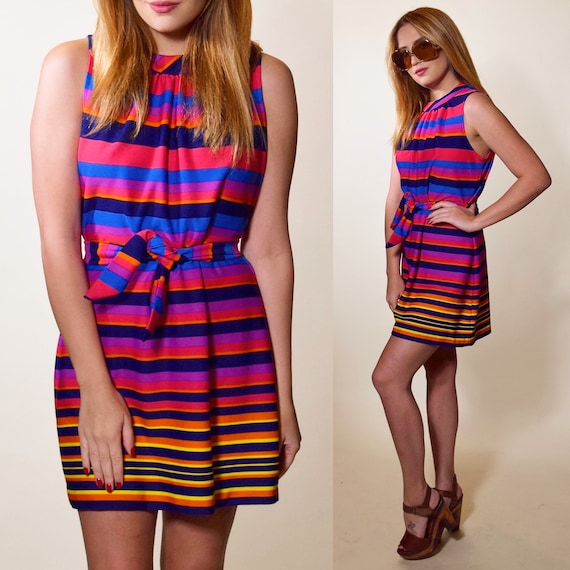1960s authentic vintage rainbow stripe mini mock turtleneck mod dress with matching sash belt women's size XS-S
