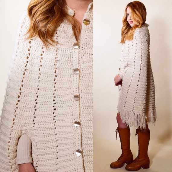 1970s authentic vintage cream off white fringe crochet button down poncho women's one size