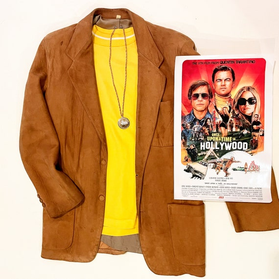 1950s authentic vintage brown suede blazer / halloween costume / once upon a time in Hollywood men's size medium