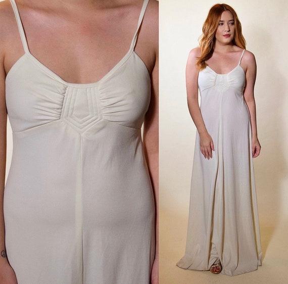 vintage maxi dress white  spaghetti strap polyester women's size small blondie parellel lines