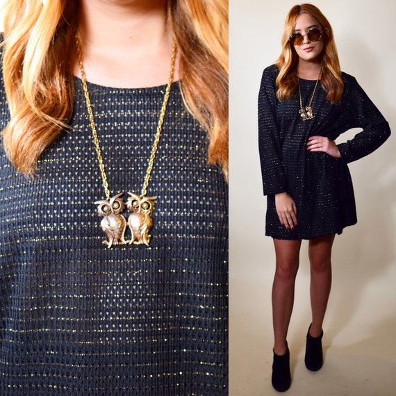 Authentic vintage black polyester ribbed long sleeve tunic / dress with gold threading women's size small-medium