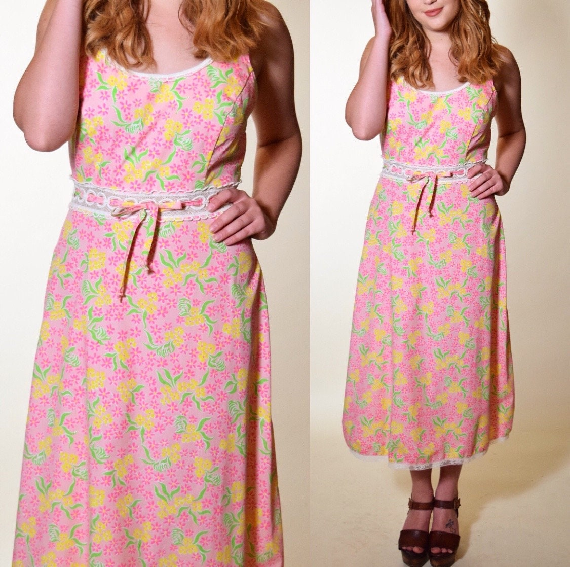 4ca5c67ecee Vintage 1960 s floral (Lilly Pulitzer) pink summer lace trim midi maxi ...