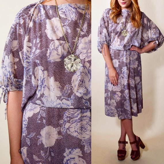 1970s authentic vintage floral sheer fit and flare disco mid length dress women's size small-medium