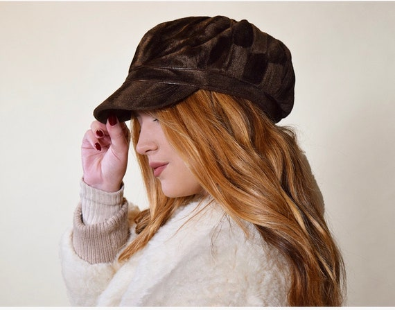 Faux suede velvet type brown disco polyester cap /newsboy hat women's S-M