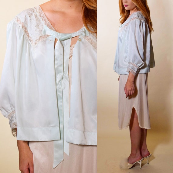 1940s-1950s authentic vintage light blue  / bed jacket /satin tie ruffle long sleeve blouse women's size small /medium