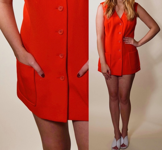1960s authentic vintage red polyester button down tunic / mini dress womnen's size XS-S