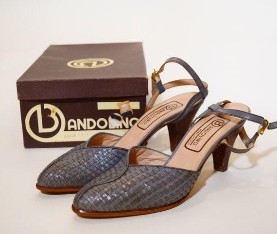 1970s authentic vintage Bandolino woven leather strap pumps women's US size 7.5