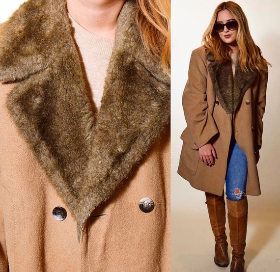 1970s authentic vintage camel double breasted faux fur collar oversized coat unisex large