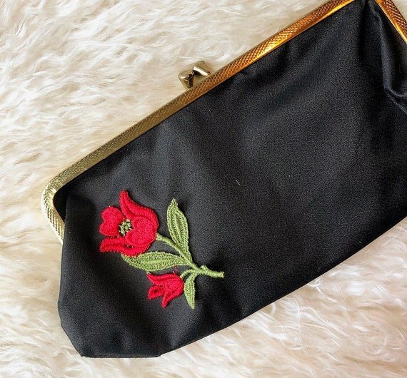 1950s vintage small back clutch with rose embroidered appliqué
