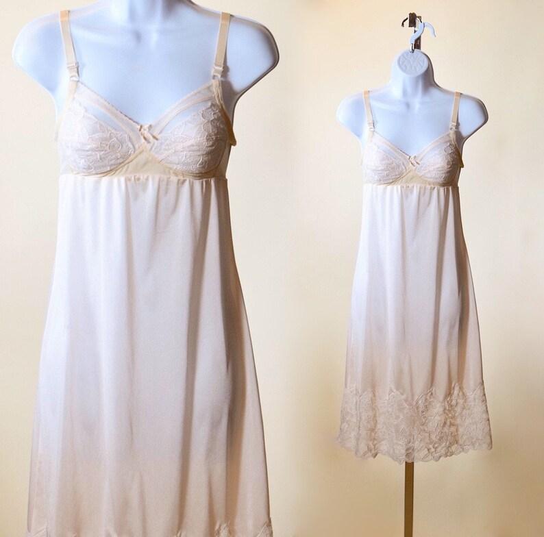 31ec240c609 1970s authentic vintage nylon + lace slip dress with built in bra women's  size XS