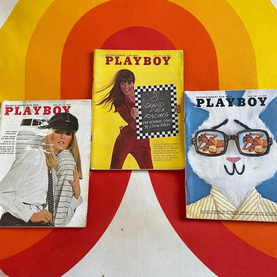 Authentic vintage 1968 lot to 3 Playboy Magazines