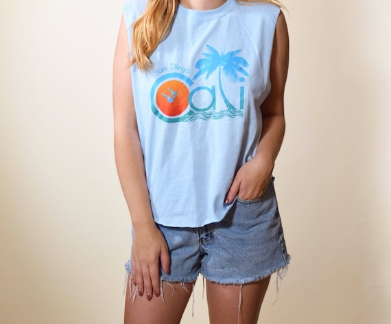 One of a kind souvenir style San Diego California palm tree + beach graphic cropped tank top women's size small / medium