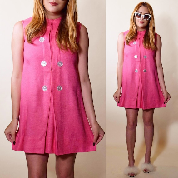 1960s authentic vintage hot pink mod mini sleevele