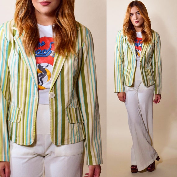 1970's vintage preppy mod green + gold pin stripe Beach Boys inspired fitted blazer women's size small