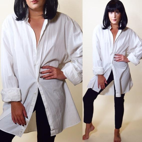 MiaWallace Pulp Fiction classic white button down oxford shirt women's size medium