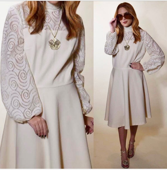 1960s authentic vintage off white polyester + lace wing bohemian long sleeve dress with mock turtleneck women's size Medium-Large