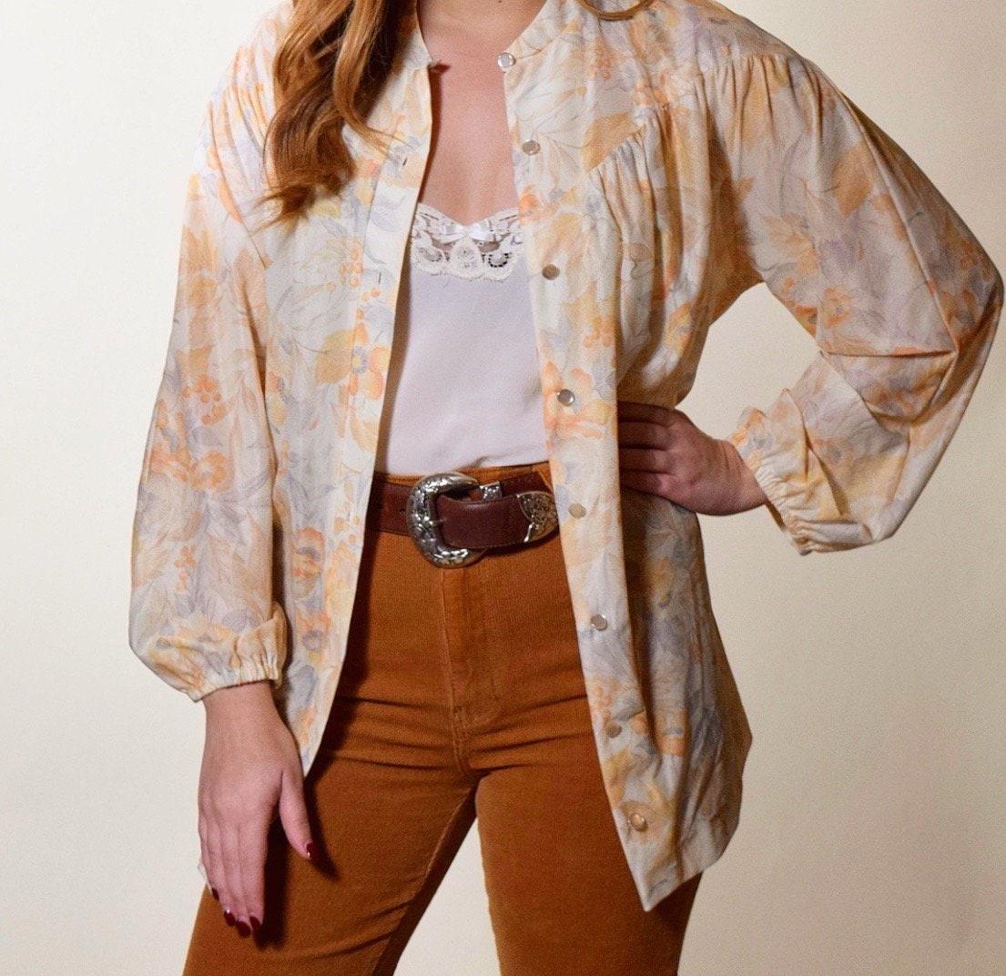 20a4e7a2 1960s vintage light yellow / orange floral tunic button down blouse ...