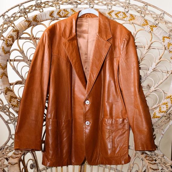 1970s authentic vintage Chestnut Brown leather classic blazer / coat men's size M-L