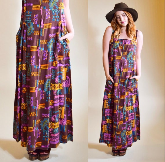 Vintage 1970's hippie groovy psychedelic patterned brown maxi dress with pockets women's size Small