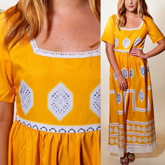 Vintage mustard gold yellow batik style short sleeve maxi kaftan dress women's size small / medium
