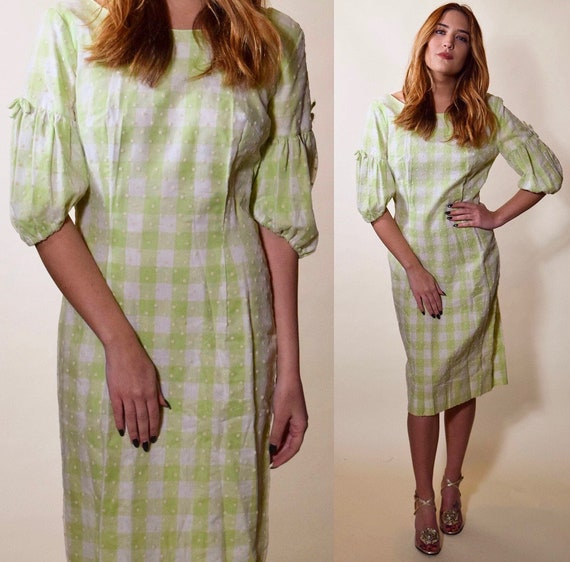 1960s mint green + white checkered preppy Mrs. Maisel fitted mod dress women's size small-medium
