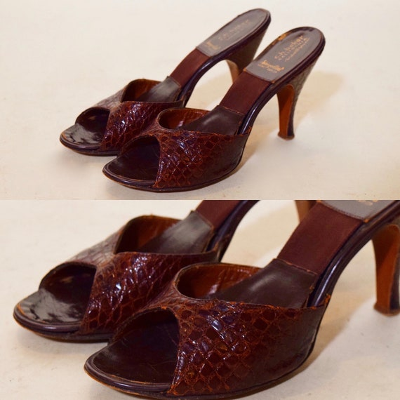 "1940s-1950s authentic vintage brown snakeskin open toe stiletto 3.5 "" heels women's US size 5"
