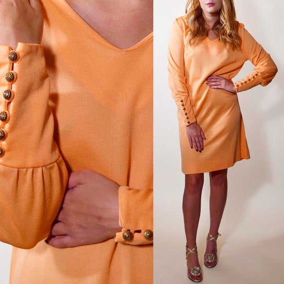 1960s-1970s authentic vintage mod peach pink polyester long sleeve mini dress women's size medium