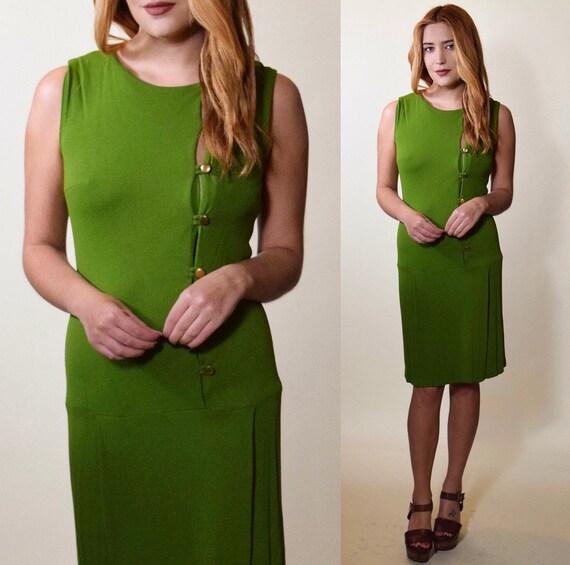 1960s mod olive green form fitting crop waist sleeveless dress women's size small