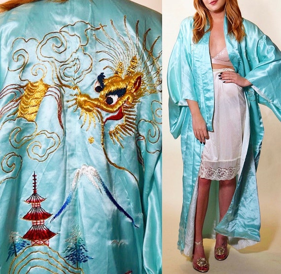 1950s-1960s authentic vintage RARE light aqua blue Japanese silky robe with dragon embroidery women's ONE SIZE