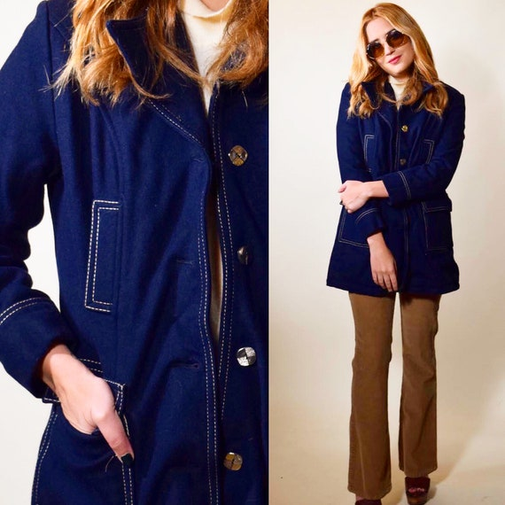 1950s authentic vintage navy blue button down car coat with red faux fur lining women's size small-medium