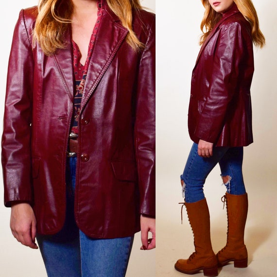 1970s authentic vintage dark brown/ red tone leather button down collared jacket/blazer women's size small