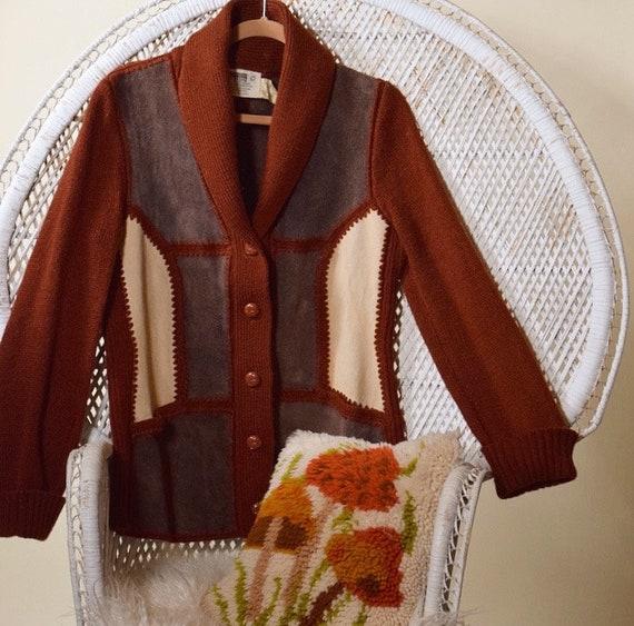 1970s hippie suede patchwork sweater rust cardigan