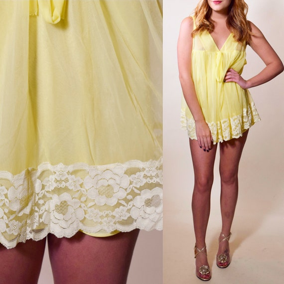Vintage 1960's old hollywood glam yellow babydoll